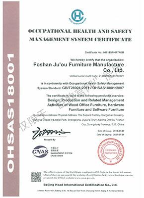 2018 职业健康安全管理体系认证证书    英文版